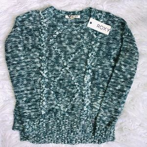 NWT Roxy marled teal green sweater